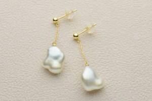 琉球真珠 真珠の雫 ケシパール ロングチェーンピアス